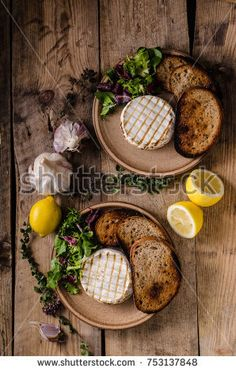 Grilled camembert cheese, mini salad and baked bread