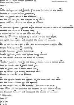 Song Lyrics with guitar chords for Sound Of Silence