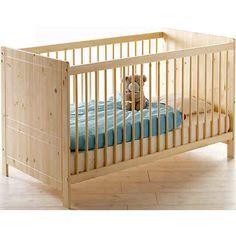 """Die helle und freundliche Optik dieses Babybetts aus der """"Moritz"""" Serie von TICAA fügt sich perfekt in ein liebevoll eingerichtetes Kinderzimmer ein! Eine hohe Standfestigkeit sorgt für die nötige Sicherheit und insgesamt drei Schlupfsprossen ermöglichen Ihrem Kind ein eigenständiges betreten und Verlassen des Bettes. Auf einer Liegefläche von 70x140 cm bietet dieses Bett reichlich Platz zum angenehmen träumen. <br /> <br /> Maße (B/H/T): ca. 76,5 x 8... Moritz, Obi, Kiefer, Cribs, Furniture, Home Decor, Products, Bed Frame, Baby & Toddler"""