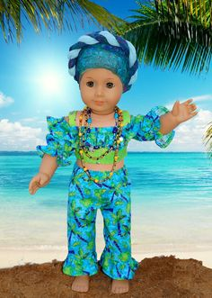 """Vamos à praia! Let's go to the beach! Vicky (honeychile on Etsy) made this picture-perfect ensemble for her American Girl doll using our 2016 FREE pattern for Lee & Pearl mailing list subscribers — 1035: Olá Brasil! Samba Top, Bahia Dress, Baiana Headwrap and Jewelry Tutorials for 18"""" Dolls. Join our mailing list at www.leeandpearl.com to get your own copy of this wonderful pattern!"""