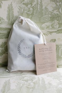 Stamped Muslin Wedding Welcome Bag | photography by http://www.greergphotography.com/