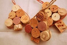 Sweet Unusual Christmas Tree Ornaments For Inspirations: Exemplary 6 Wine Corks Tied For One Unique Christmas Ornaments Hanger Cork Christmas Trees, Unique Christmas Decorations, Diy Christmas Ornaments, Homemade Christmas, Christmas Holidays, Christmas Ideas, Xmas Trees, Tree Decorations, Homemade Ornaments