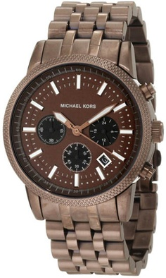 Brown Stainless steel case measures 45mm wide by 12mm thick.  Smooth link bracelet includes a tasteful and convenient push button deployment clasp.  Brown dial has silver tone hands and hour markers.  Chronograph function measures up to sixty minutes of activity in second increments.  The precise Quartz movement is protected by a scratch resistant mineral crystal.  Water resistant 100m.