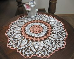 Flower Crochet Lace Doily Table Accessory Modern Home Peach and White Gift for mom (34.00 USD) by DoliaGalinaCrochet