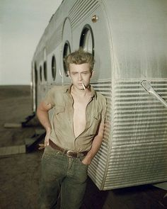 james dean and a boles aero trailer (we believe) . . if we're wrong. . someone let us know :)