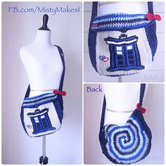 The Time Traveler Bag was inspired by one of my favorite shows, Doctor Who. The spiral reminds me of The Doctor in the TARDIS traveling through space and time.