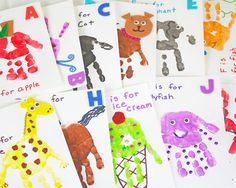 Make your own handprint alphabet flashcards with help from Shauna of These flashcards are a great art project for kids and toddlers. They help kids learn their ABC's while also encouraging creativity. Abc Crafts, Alphabet Crafts, Letter A Crafts, Preschool Activities, Alphabet Party, Toddler Art Projects, Toddler Crafts, Crafts For Kids, Flashcards For Toddlers