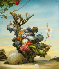 The Ancient Bouquet 2014 by Kevin Sloan Fantasy Kunst, Fantasy Art, Map Painting, Gb Bilder, Surreal Art, Graphic Design Illustration, Les Oeuvres, Art Boards, Flower Art
