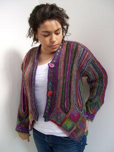 Dazzling Knits pattern. Knit of Noro yarns, Lambs Pride and Manos del Uruguay. Won Judges Award of Merit LA County Fair 2007 - best use of color.
