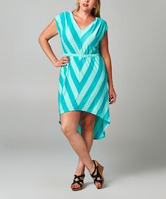 Loving this Turquoise & Green Chevron Hi-Low Dress - Plus on #zulily! #zulilyfinds