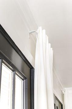 How To Fake A Long Curtain Rod - Bless'er House Ikea Curtains, Shabby Chic Curtains, Nursery Curtains, Burlap Curtains, Floral Curtains, Curtains Living, Cafe Curtains, Colorful Curtains, Hanging Curtains
