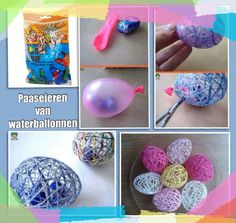 Paaseieren!  Ballon opblazen (chocolade-eieren erin), insmeren vaseline, behangsellijm op wol, eromheen draaien,  laten drogen, ballon stuk en tadaaaa!
