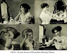 Illustrated Beauty Guide from the Titanic Era -  Some highlights from a 1910 personal beauty book by Margaret Mixter. You can find the full book on Archive.org.  A rare insight from the Edwardian Era,  into the beauty habits and secrets of Edwardian women.