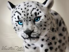 Handmade Needle Felted Wool Animal Sculpture Snow Leopard: