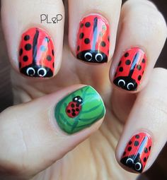 These bug-inspired nail designs are an unexpected ode to nature. Nail Polish Art, Nail Polish Designs, Cute Nail Designs, Little Girl Nails, Girls Nails, Hot Nails, Hair And Nails, Fancy Nails, Pretty Nails