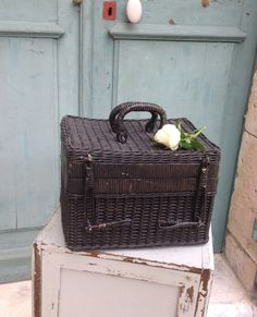 Pretty antique French traditional costume - ladies work - haberdashery black wicker basket 1800's