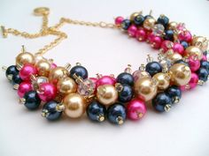 Hot Pink Gold Navy Blue Beaded Necklace Pink by KIMMSMITH on Etsy, $24.00