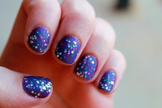 Purple/Blue Base with Party Glitter over it and Matte on Top