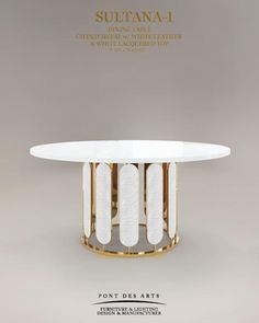 Dining table-Brass and leather- Designer Monzer Hammoud – Pont des Arts Studio Par … – Marble Table Designs Coffee Table To Dining Table, Furniture Dining Table, Table Furniture, Luxury Furniture, Furniture Design, Gold Furniture, Furniture Ads, Sofa Table Design, Coffee Table Design