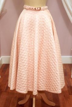 1950s Pale Pink Satinized Cotton Quilted Skirt with Belt (want!!!). #vintage #1950s #skirts #fashion