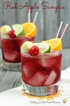 Red Apple Sangria  2/3 cup Cabernet Sauvignon  2 1/2 oz apple liqueur (not green colored)  1 oz grenadine  3 oz cranberry juice  3 oz pineapple juice  Sierra Mist  Garnish (2 of) - apple ball, orange wedge, lime wedge, maraschino cherry