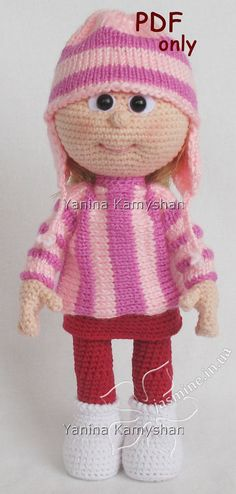 Crochet and knitting pattern - Doll in sweater and hat amigurumi doll (English) . : Crochet and knitting pattern – Doll in sweater and hat amigurumi doll (English) Doll in sweater and hat, crocheted amigurumi, PDF pattern Baby Knitting Patterns, Doll Patterns, Crochet Patterns, Amigurumi Patterns, Knit Or Crochet, Cute Crochet, Crochet Crafts, Knitted Dolls, Crochet Dolls