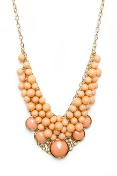 Bauble And Beads Necklace in Peach