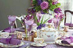 Purple Shades of Autumn Tea Party Tea Party Decorations, Decoration Table, Lila Party, Vase Deco, Tea Places, Tea Party Table, Tea Tables, Party Tables, Autumn Tea