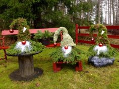 me ~ christmas lawn decorations handmade forest dwarfs magical creatures Christmas Decorations Diy Crafts, Decorating With Christmas Lights, Christmas Diy, Xmas, Outdoor Decorations, Navidad Diy, Theme Noel, Floral, Magical Creatures