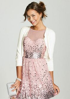 Pink Sparkly Dress & White Cardigan