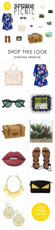 """Spring Picnic"" by akilahdavis ❤ liked on Polyvore featuring 3.1 Phillip Lim, Ray-Ban, Williams-Sonoma, Lux-Art Silks, Lime Crime, Billabong, Forever New, Fendi and Mudhut"