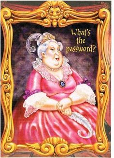 """Harry Potter Fat Lady Portrait Birthday Greeting Card by Harry Potter, Warner Brothers. $19.95. Harry Potter birthday card produced in 2000 with the release of """"Harry Potter and the Sorcerer's Stone"""". Die-cut card of the portrait's frame is 6.75"""" tall by 5"""" wide. Comes with parchment colored envelope embellished with the Hogwarts """"H"""" crest Out of print since 2000. Very limited quantities remain."""