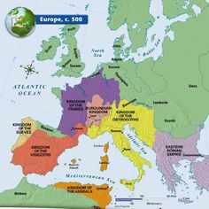 Historical map of Europe in the year 1500 AD
