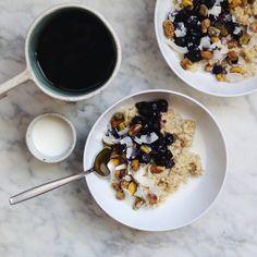 Creamy Quinoa Porridge with Blueberry Compote - vegan   passover friendly // inmybowl.com