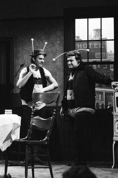 LIVE Episode 22 Air Date Pictured Dan Aykroyd as Ed John Belushi as Ralph during 'The Honeymooners' skit on May 29 1976