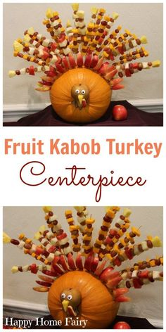 turkey-fruit-kabob-centerpiece-from-happy-home-fairy Looking to add a little awesome to your Thanksgiving table this year? How about a Fruit Kabob Turkey? Kinder Party Snacks, Snacks Für Party, Thanksgiving Potluck, Thanksgiving Centerpieces, Thanksgiving Traditions, Food Centerpieces, Thanksgiving Food Crafts, Hosting Thanksgiving, Halloween Fingerfood