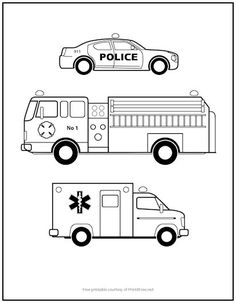 Police cars and ambulances and fire engines, oh my! Kids will love this free printable Emergency Vehicles Coloring Page – great way to keep your child entertained or busy on a rainy day at home. Free Kids Coloring Pages, Truck Coloring Pages, Colouring Pages, Coloring Sheets, Fairy Coloring, Kids Police Car, Police Truck, Police Cars, Chevy Silverado