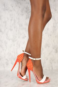 1f95cd9b39e Orange Canvas Striped Polka Dot Open Toe Single Sole High Heels