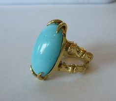 Vintage ESTATE Heavy 18K GOLD & Blue PERSIAN TURQUOISE Ring BAMBOO Band size 6.5 | eBay