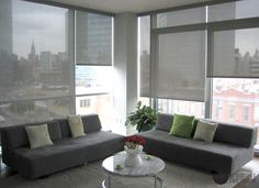 Automated sun shades installation at a midtown apartment building in Long Island City, NY. Product: Phifer Openness with Somfy motors. Window Treatments, Interior Windows, Floor To Ceiling Windows, Shades Blinds, Furniture, Windows, Home Decor, Custom Windows, Custom Window Treatments