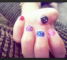 Jade's multicolored nails w white polka dots  #Nails #Teen #Designs