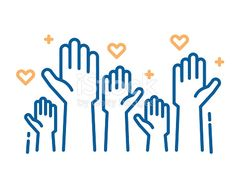 Download this Volunteers And Charity Work Raised Helping Hands Vector Thin Line Icon Illustrations With A Crowd Of People Ready And Available To Help And Contribute Positive Foundation Business Service vector illustration now. And search more of iStock's library of royalty-free vector art that features A Helping Hand graphics available for quick and easy download.