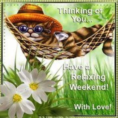 Have a playful weekend weekend friday kitty sunday saturday graphic wish anyone a relaxing weekend with this cute ecard and your love free online youre in my thoughts ecards on everyday cards m4hsunfo