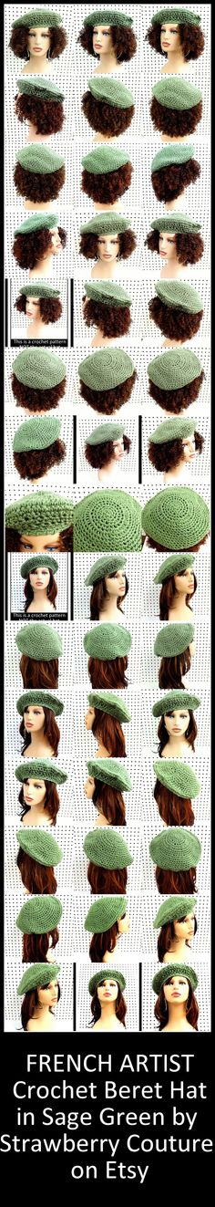 FRENCH ARTIST Crochet Beret Hat in Sage Green $35.00 and Pattern $5.00 by StrawberryCouture on Etsy #berethat #crochethat #crochetpattern #berethat #berethatpattern #hatpattern #beretpattern #etsy #etsyshop #etsygifts #shopping #DIY #crafts