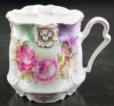 Antique Victorian Porcelain Women's Shaving Cup Mug Ornate Colorful Rose #Victorian #ShavingMug FREE SHIPPING!