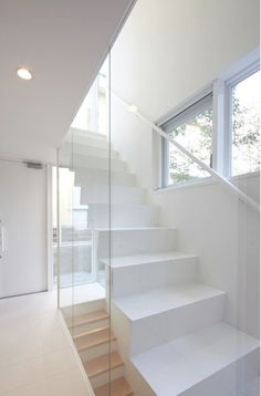 Clean and modern white stairs