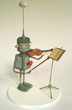 Romantic robot, violinist. With violin, bow, music and stand from Planet Sant