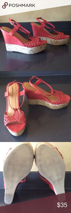 Madden girl Cooper wedges 8.5 madden girl Cooper wedges 8.5, worn twice. Good condition. Color reminds me of watermelon, reddish pink summery color. Shoes Wedges