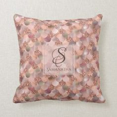 Shop Pretty Rose Gold Mermaid Faux Glitter Monogram Throw Pillow created by steelmoment. Personalize it with photos & text or purchase as is! Birthday Gift Baskets, Unique Birthday Gifts, Rose Gold Throw Pillows, Mermaid Pillow, Mother Birthday, Get Well Gifts, Mason Jar Gifts, Pretty Roses, Parent Gifts