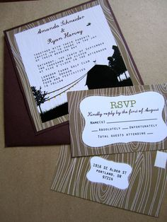 wish we had these--so perfect! Farmhouse Wedding Invitations by MostazaSeedGraphics on Etsy, $4.00